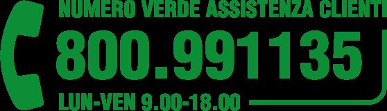 Numero Verde Assistenza Clienti 800.991.135 | Lun-Ven 9.00-18.00