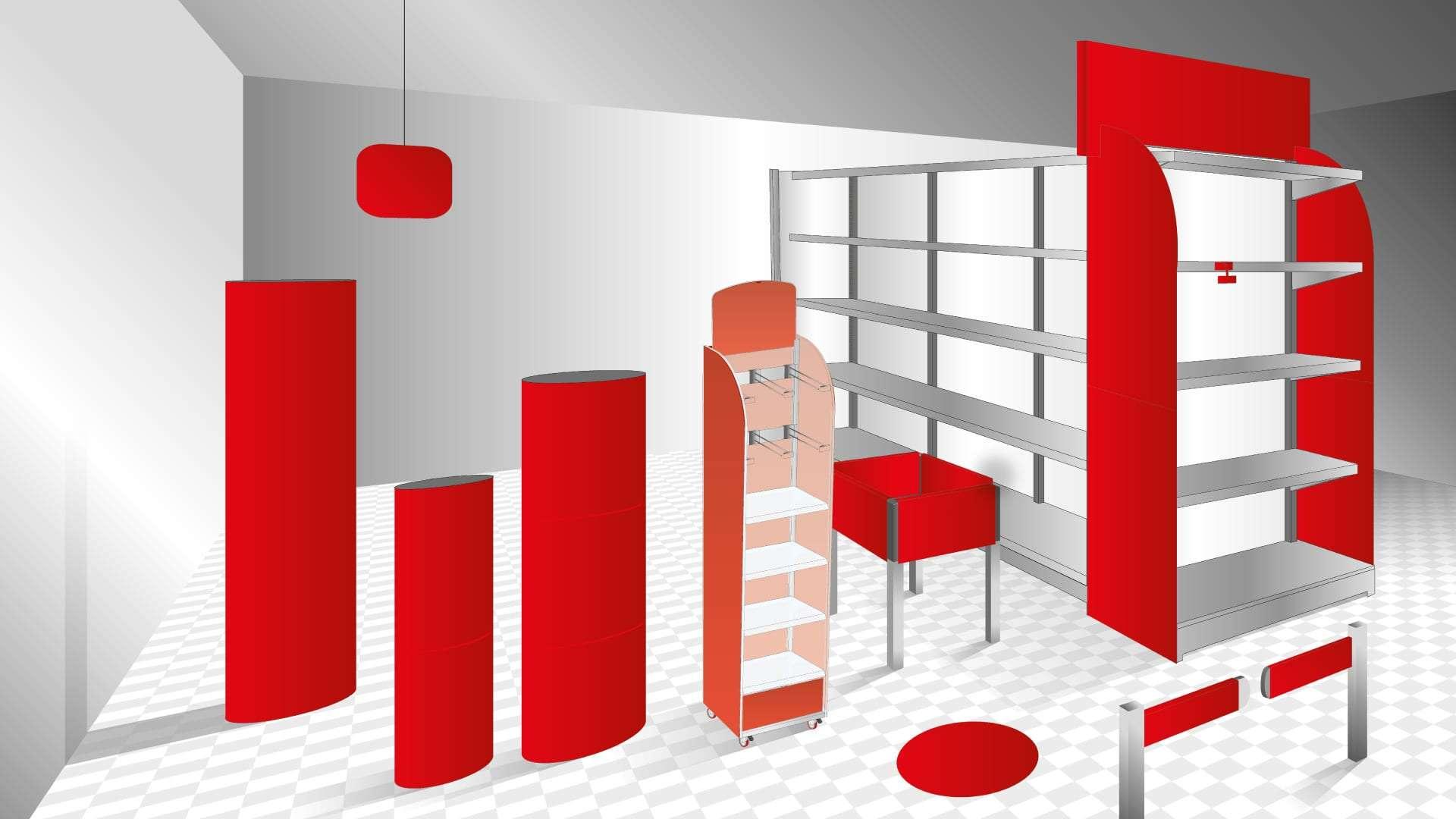 Rendering allestimento punto vendita Adaptive
