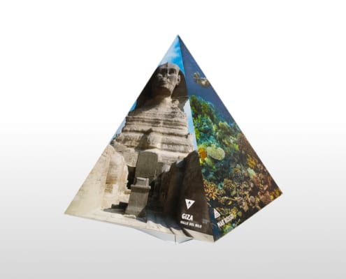 Display a forma di Piramide espositore da banco in cartone Adaptive