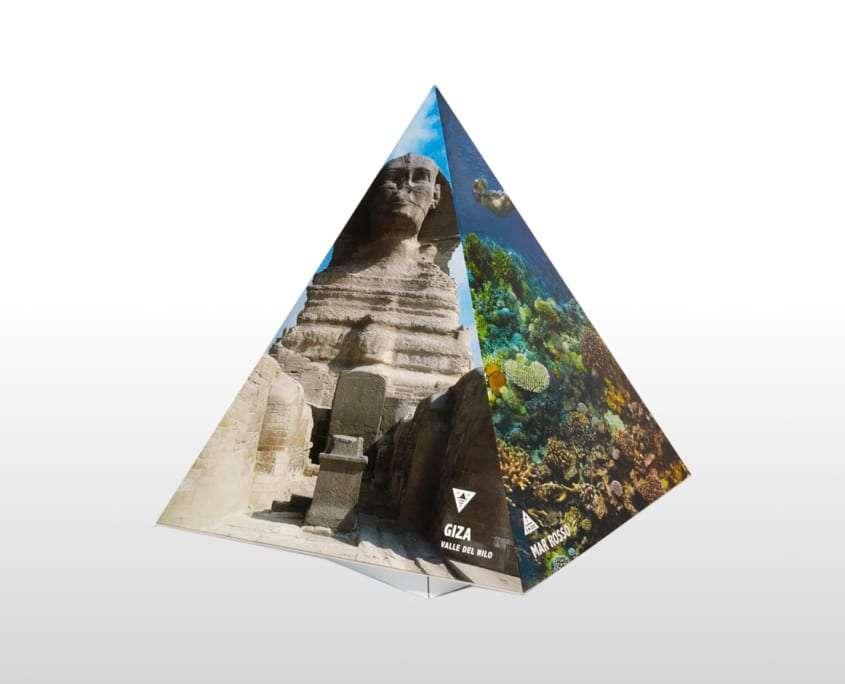 Display a forma di Piramide espositore da banco in cartone Adaptive