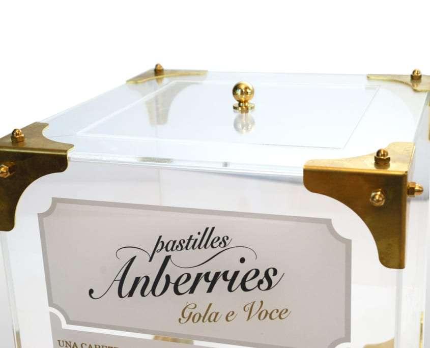 Espositore durevole da banco il plexiglass caramelle Anberries Adaptive